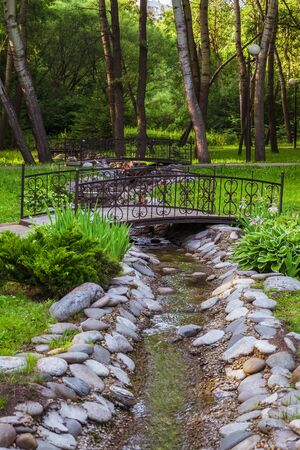 Small bridges over a stream in the park