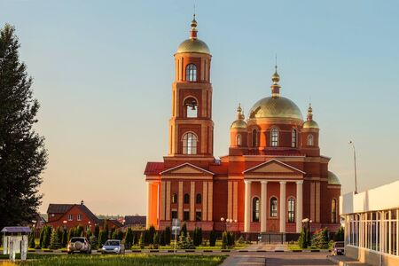 District center Stroitel in the Belgorod region. The current orthodox church in honor of the New Martyrs and Confessors of Belgorod. The temple with a bell tower. Stock Photo