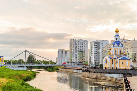 BELGOROD, RUSSIA - JULY 04, 2016: Belgorod cityscape. Embankment river Vezelka with a view of the temple Archangel Gabriel.