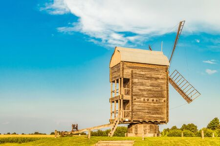 Large Russian wooden mill. Rear view.