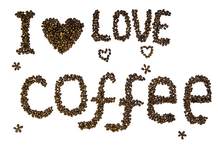 Text I love coffee made of roasted coffee beans isolated on a white background.