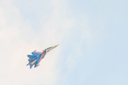 BELGOROD, RUSSIA - JULY 15, 2017: Russian military aircraft-fighter su-30 sm Flanker, in the sky gaining height. Highly maneuverable combat and strike heavy jet fighter of aerospace forces Russian Federation.
