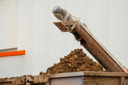 Removal of poultry manure from a poultry house. Agro industry, aviculture complex. Stock Photo