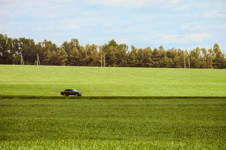 Landscape with a riding classic car on a country road among green fields