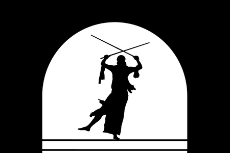 Graceful belly dance with swords. Black silhouette of an Oriental dancer on stage with arched vault. Dancing black woman warrior on a white background. Archivio Fotografico