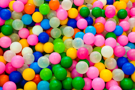Many colored gaming plastic balls for children play areas