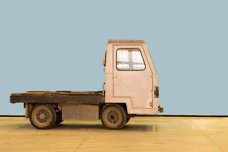 Small electric car truck on industrial factory