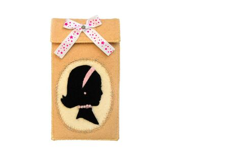 Handmade phone case made of felt. Stripe in the shape of a female head in profile.