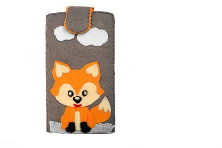 Handmade phone case made of felt. Fictional character - red fox.