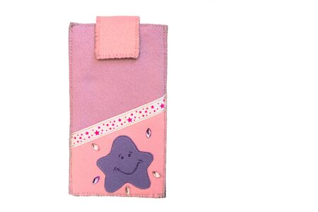 Handmade phone case made of felt with starry ribbon. Fictional character - starfish.