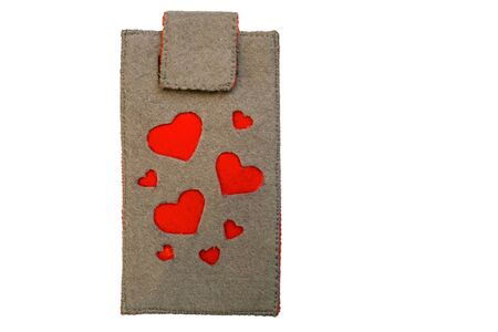 Handmade phone case made of felt with red hearts