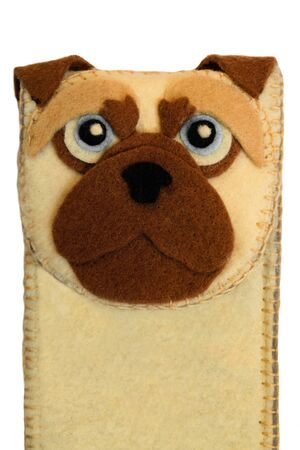 Handmade phone case made of felt with dog face. Fictional character.