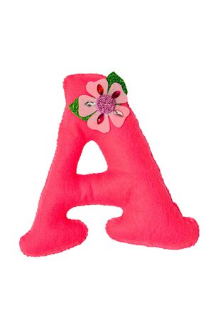 Handmade pink letter A made of felt. Childrens alphabet A with small flower.