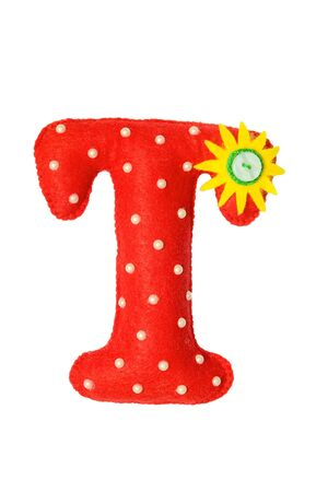 Handmade red letter T made of felt. Childrens alphabet T with small sunny flower and beads. 版權商用圖片