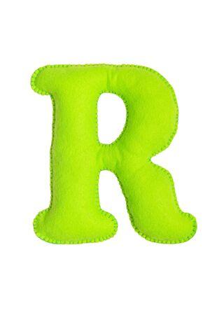 Soft green letter R made of felt. Handmade childrens alphabet R. 版權商用圖片