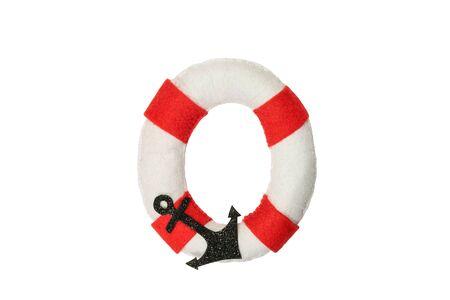 Soft white-red letter O made of felt. Handmade childrens alphabet O on the sea theme.