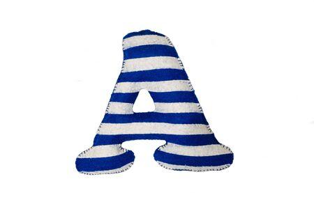 Soft striped white-blue letter A made of felt. Handmade childrens alphabet A on the sea theme.