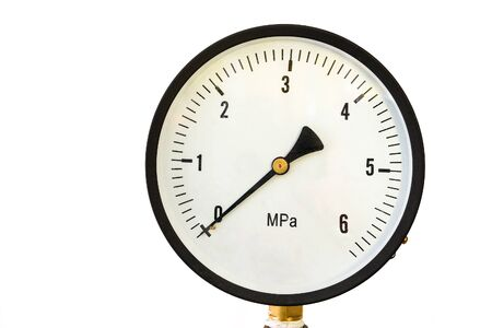 Pressure gauge on a white background. Manometer close-up.