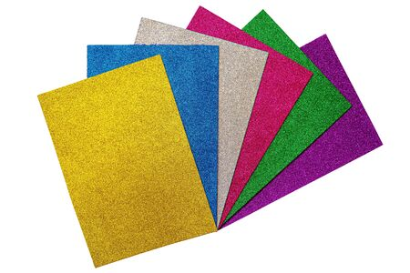 Colored glitter foamiran sheets isolated on white backround. Multicolored set.