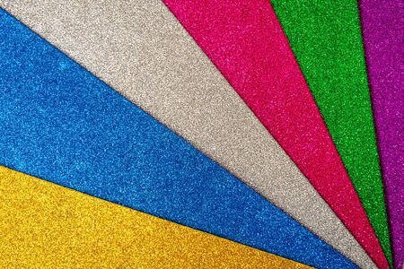 Colored foamiran sheets with sparkles. Multicolored set.