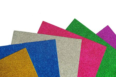 Set of colored foamiran sheets with sparkles on white background