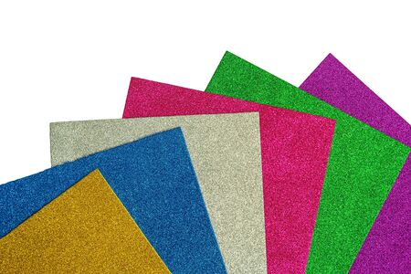 Colored cardboard sheets with sparkles on white background Reklamní fotografie