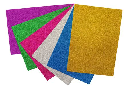 Multicolored set of glitter cardboard sheets isolated on white background