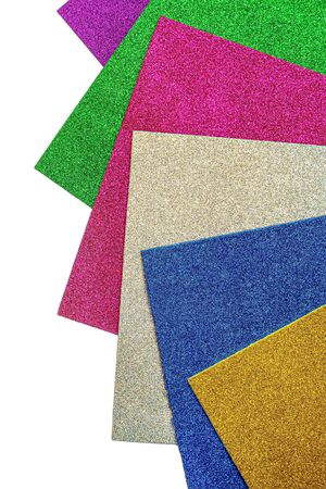 Colored cardboard sheets with sparkles