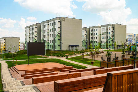 Belgorod, Russia - July 29, 2019: Southwestern residential area of Belgorod, Russia. Novaya Zhizn (New Life) city district. Residential neighbourhood with typical buildings. Outdoors cinema.