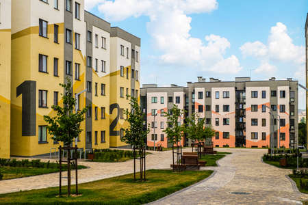 Belgorod, Russia - July 29, 2019: Southwestern residential area of Novaya Zhizn (New Life) city district. New residential neighbourhood with typical simple buildings. Affordable housing.