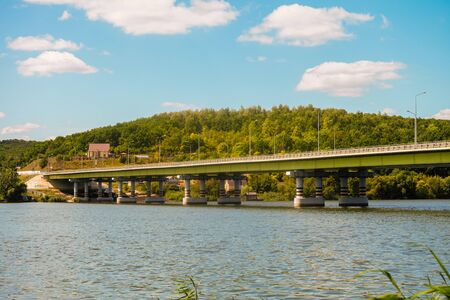 Automobile bridge over the Seversky Donets river. Water reservoir. Belgorod suburban district, Russia. Foto de archivo