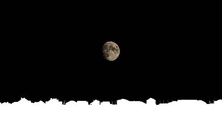 Moon over the suburbian roofs. Night sky horizon with white roofs of residential houses of a suburban village. Template for inserting. Foto de archivo
