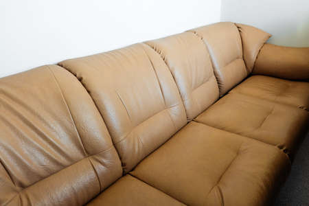 Simple leather brown soft sofa