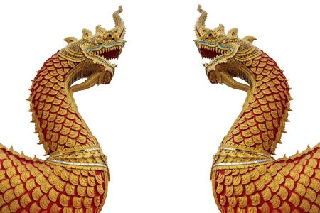 pair of naga statue facing together, isolated on white background  Stock Photo - 16060474
