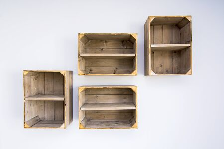 Contemporary Shelves Made Of Wooden Vegetable Boxes Trendy Hipster.. Stock  Photo, Picture And Royalty Free Image. Image 83352729.