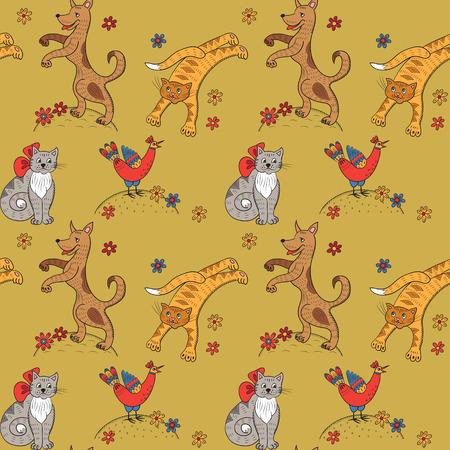 hillock: Modelo incons�til con los gatos, perros, gallinas y flores