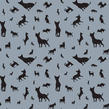 silhouette dog: Seamless pattern with dogs