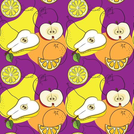 half apple: Seamless pattern with pears, apples, lemons and oranges