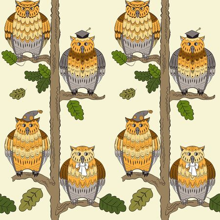 boughs: Seamless pattern with owls, oak-trees, leafs  and boughs