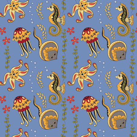 stingrays: Seamless pattern with seahorses,  jellyfishes, starfishes and stingrays