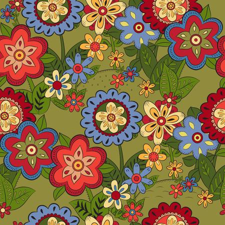 hillock: Patr�n sin fisuras con flores diferentes