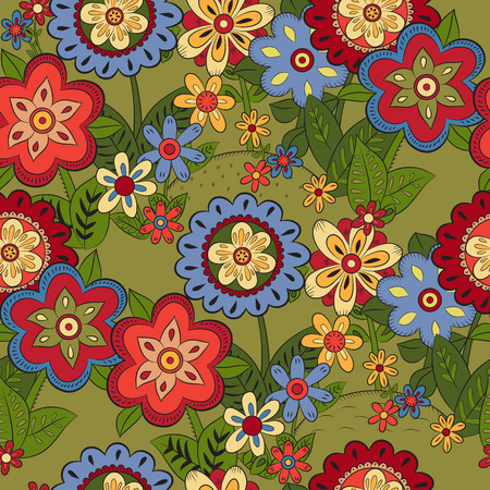 hillock: Seamless pattern with different flowers Illustration