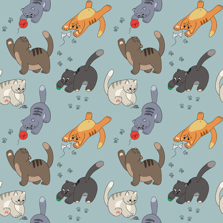 ravel: Seamless pattern with cats