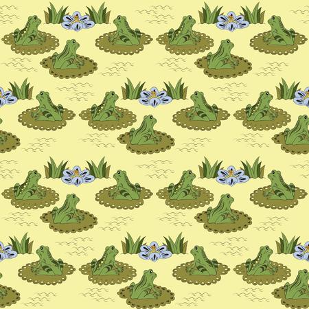 water lilies: Modelo incons�til con las ranas y lirios de agua