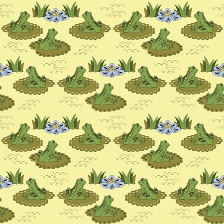 water lilies: Seamless pattern with frogs and water lilies