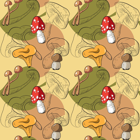 agaric: Seamless pattern with different mushrooms