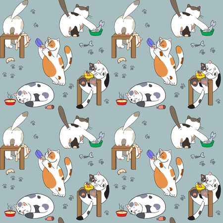 Seamless pattern with cats and food Vector