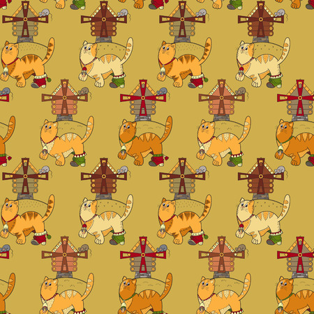 hillock: Seamless pattern with cats, mills and mouses
