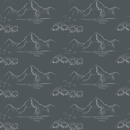sheeps: Seamless pattern with mountains and sheeps Illustration