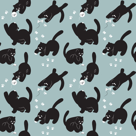ravel: Seamless pattern with cats play